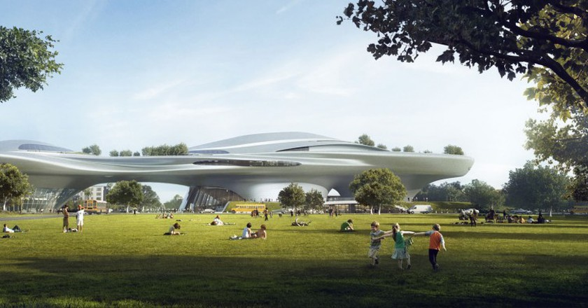 Rendering of the planned Lucas Museum of Narrative Art in Los Angeles. Courtesy The Lucas Museum