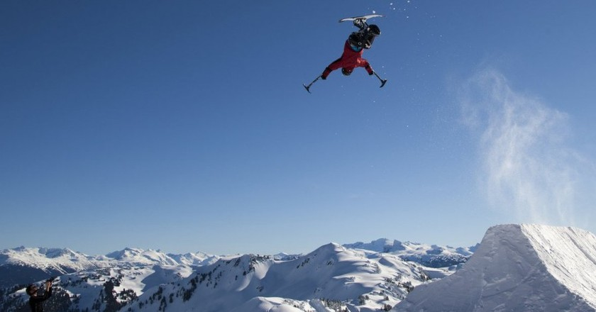 In 2012, Josh Dueck became the first to complete a backflip on a sit ski | © Paul Morrison
