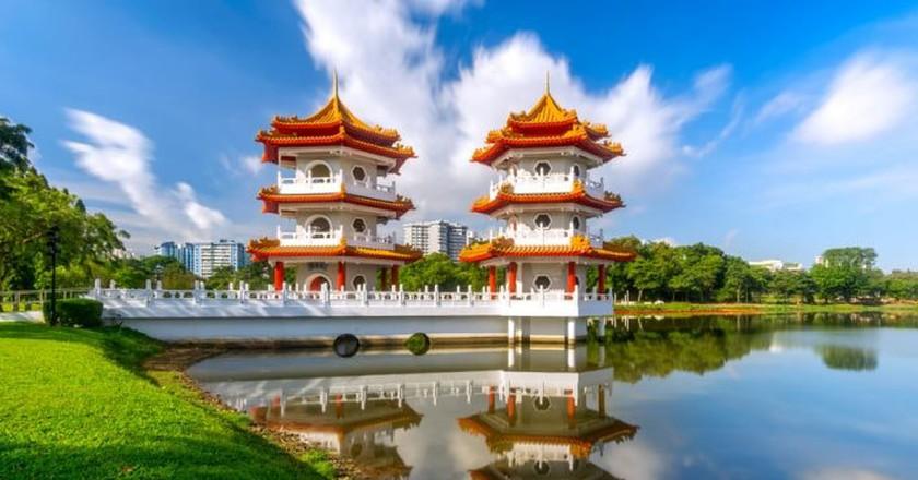 Chinese Garden Twin Pagoda of Singapore