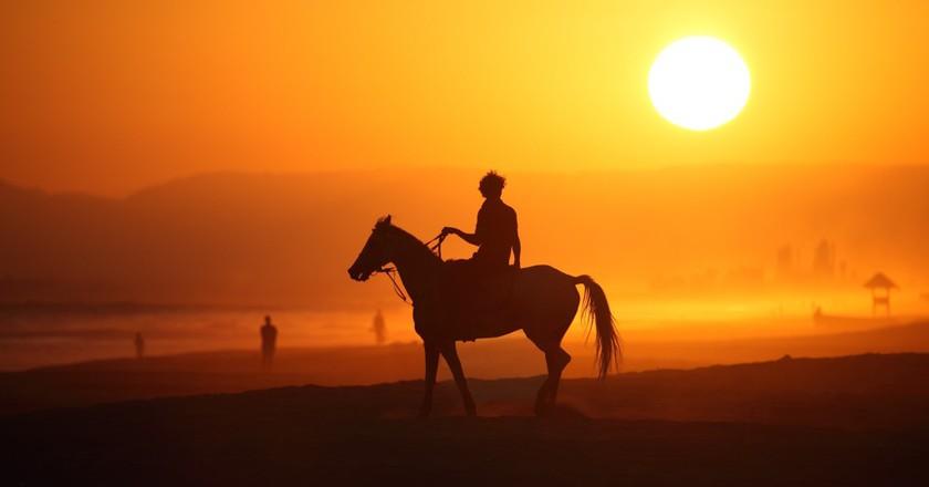 Stuart Dunn, silhouetted horse and rider, Rub' al Khali, Oman
