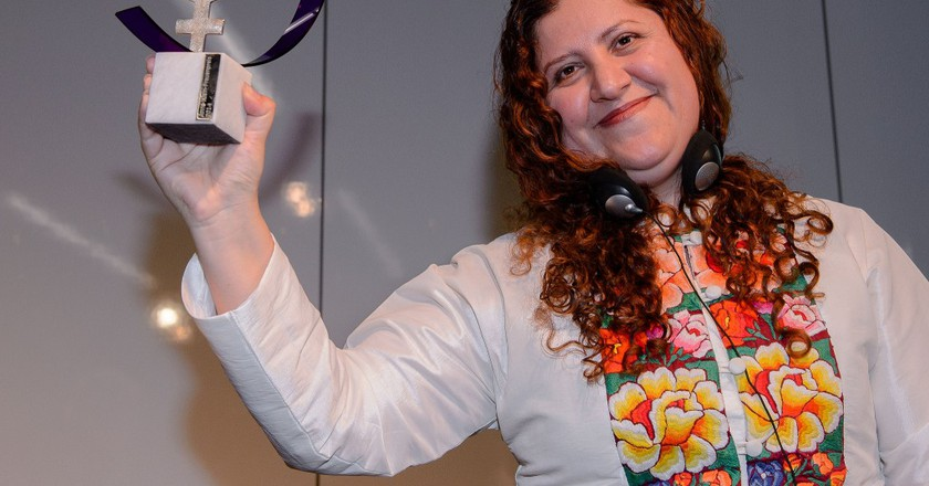 Imelda Marrufo Nava receiving the Anne Klein prize in 2014   © Heinrich-Böll-Stiftung/Flickr