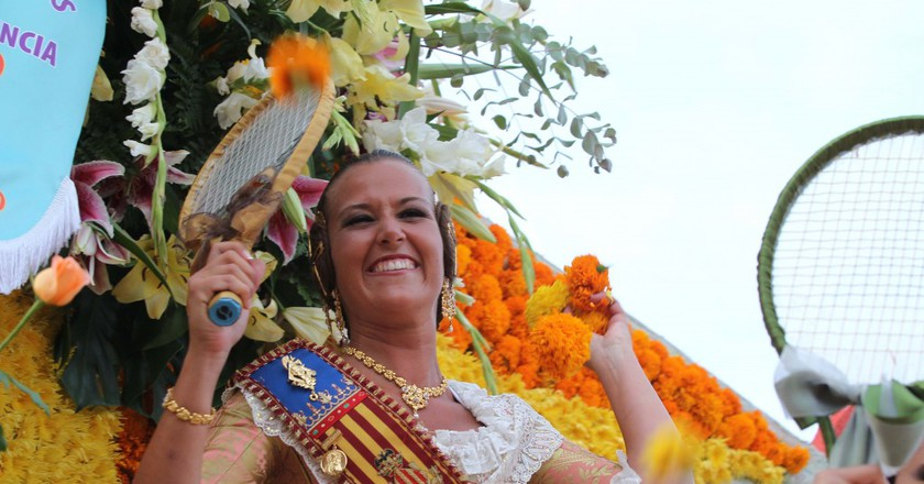 The Fallas Queen taking part in the Battle of the Flowers. Photo courtesy of Valencia Tourism