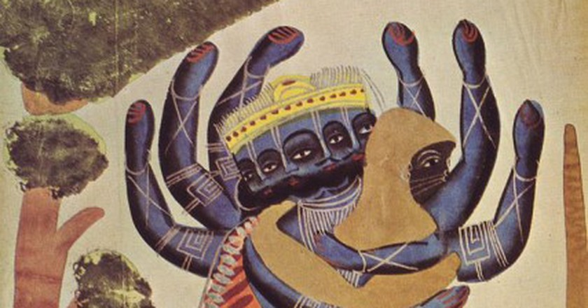 Hanuman fighting with the demon Ravana (1880) | Will / WikiCommons