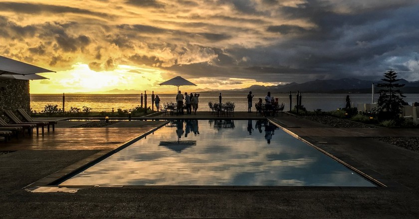 The pool deck and view to Suva Harbour from the Grand Pacific Hotel   © Juliette Sivertsen
