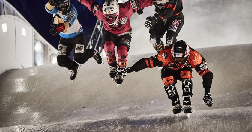 Crashed Ice competitors Cameron Naasz, Dean Moriarity, Marco Dallago, Kyle Croxall take a jump  © Red Bull Content Pool