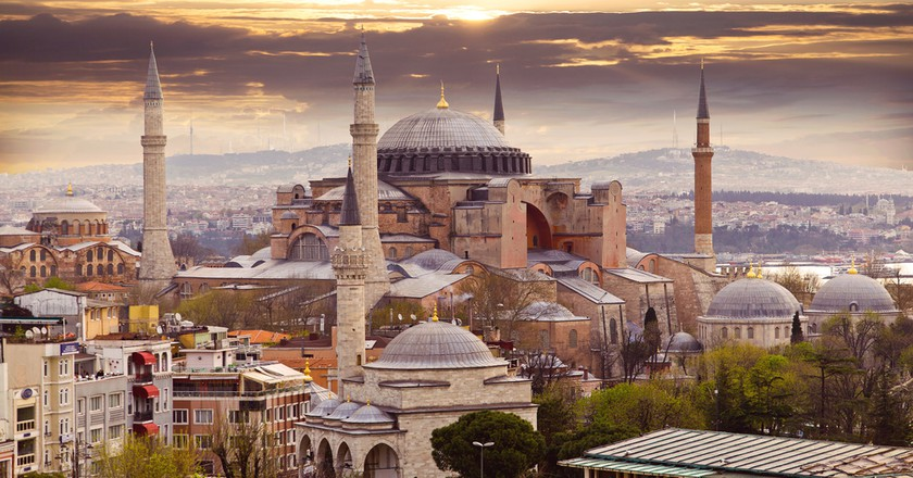 Hagia Sophia in Istanbul. The world famous monument of Byzantine architecture. View of the St. Sophia Cathedral at sunset   ©  LALS STOCK/Shutterstock