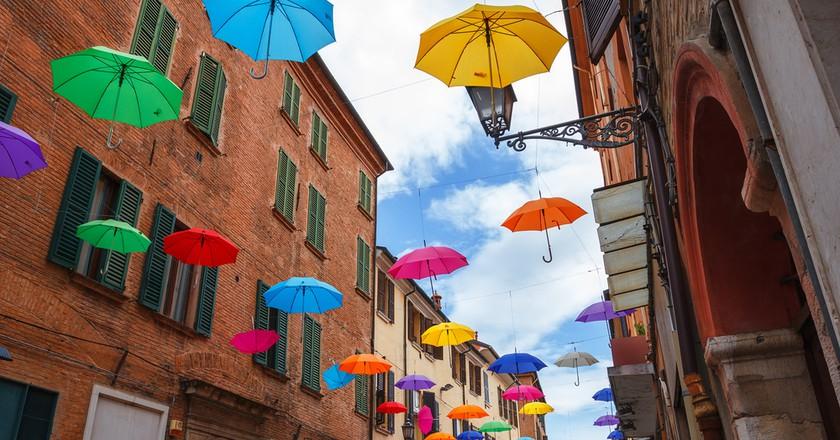 Colorful umbrellas in Ferrara, Italy | © Smiltena/Shutterstock
