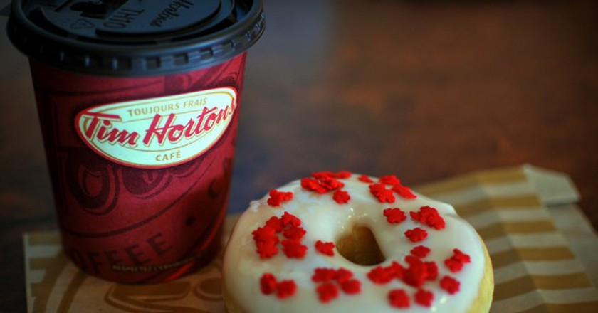 Double double and a donut at Tim Horton's | © Morgan / Flickr