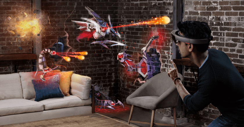 The HoloLens in action.   Courtesy Microsoft.