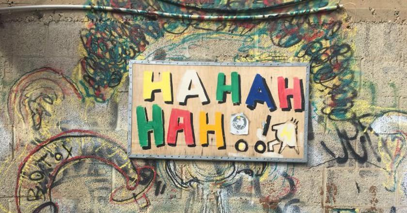 'Hahahahah!' -street art in Tel Aviv reminds us to laugh | © Ben Jakob