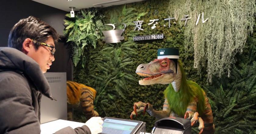 The robot dinosaur receptionist. | ©  Aflo/REX/Shutterstock