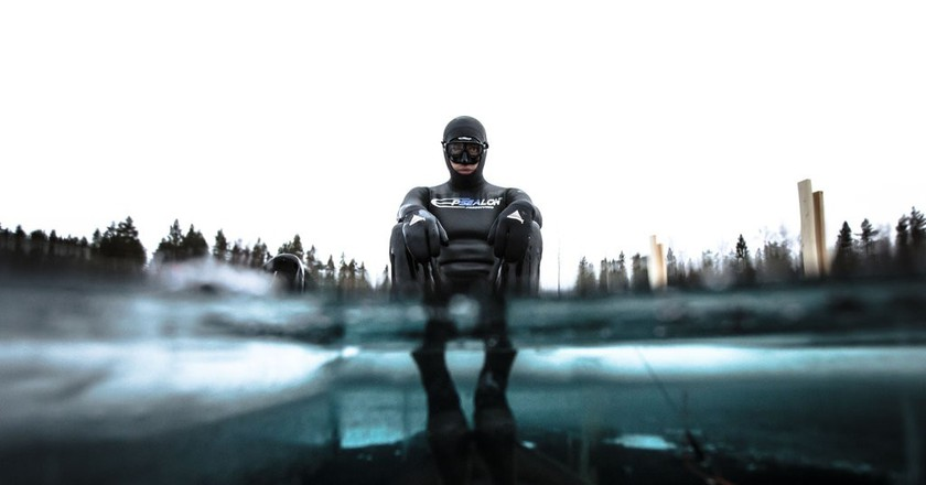 Arthur Guerin set a free diving record swimming 175m below ice | © Alex Voyer/REX/Shutterstock