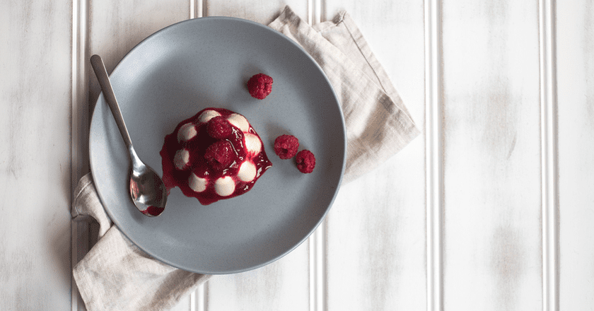 Carrageen moss pudding with raspberry compote   Courtesy of Jet and Indigo
