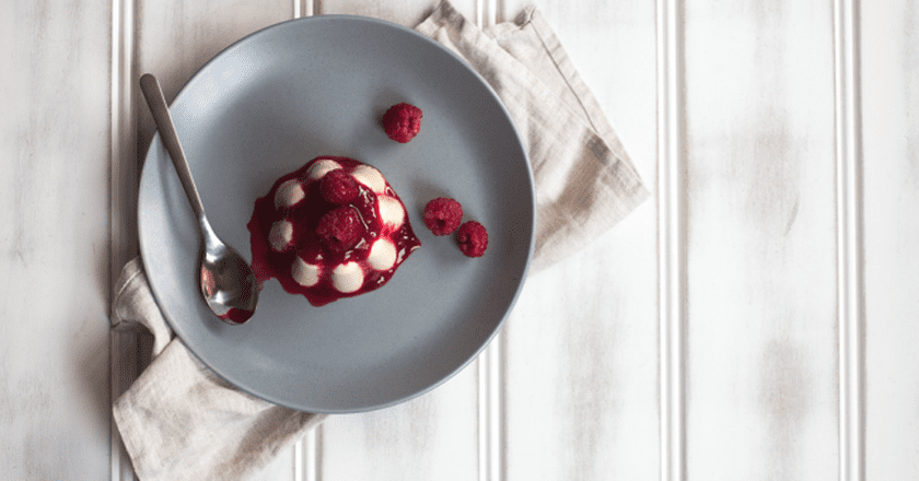 Carrageen moss pudding with raspberry compote | Courtesy of Jet and Indigo