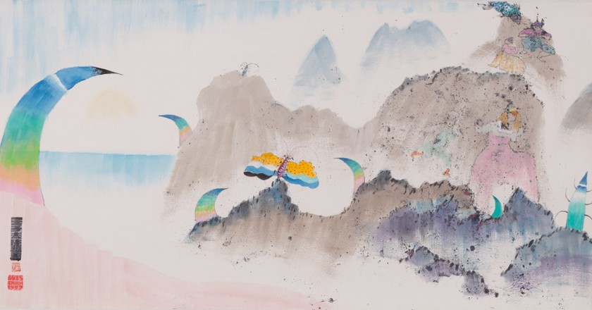"""Luis Chan, """"Butterfly"""" (1972) by ink and color on paper 