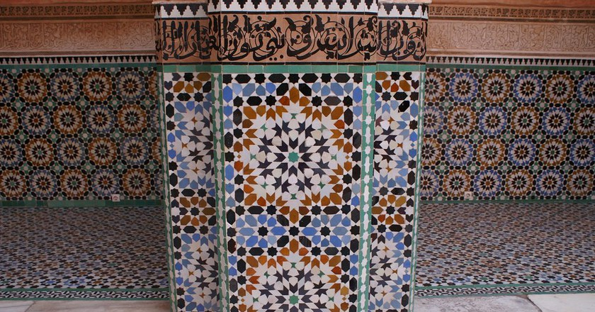 Colourful tiles at Ben Youssef Madrasa in Marrakech | © Louisa Thomson / Flickr