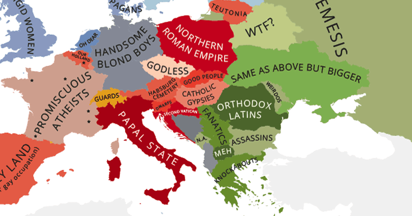 These hilariously rude maps show europe according to europeans yanko tsvetkov gumiabroncs Image collections