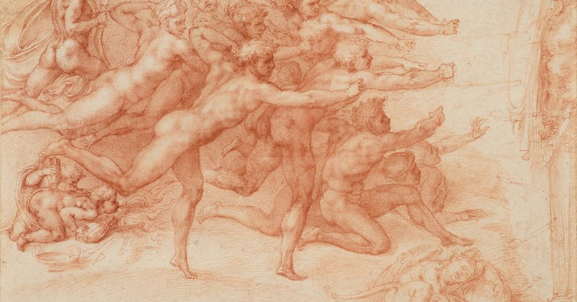 Michelangelo Buonarroti (Italian, Caprese 1475–1564 Rome) Archers Shooting at a Herm 1530–33 Drawing, red chalk; 8 5/8 x 12 11/16 in. (21.9 x 32.3 cm) ROYAL COLLECTION TRUST / © HER MAJESTY QUEEN ELIZABETH II 2017, www.royalcollection.org.uk