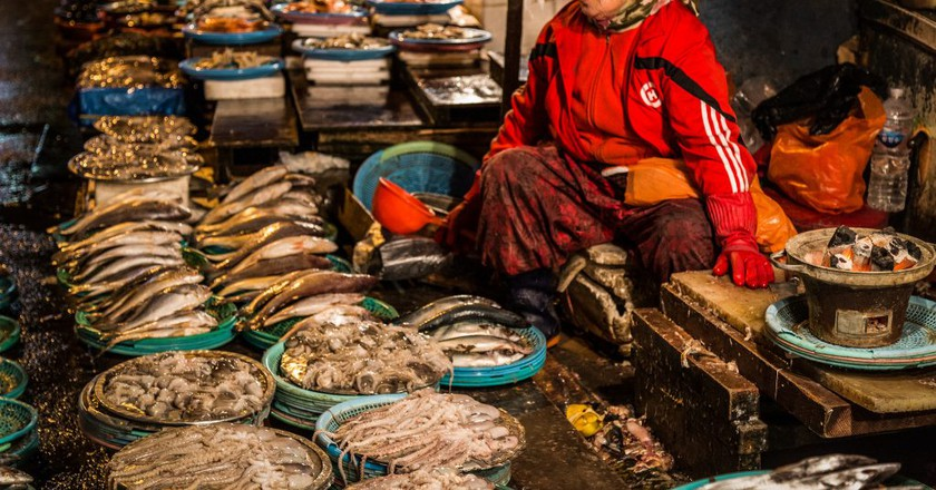 Vendor at a Korean fish market | © Ryan Bodenstein / Flickr