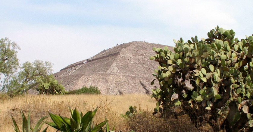 Cactuses and the Pyramid of the Sun at Teotihuacán | © Darij & Ana/Flickr