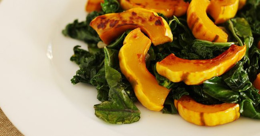 """<a href""""https://www.flickr.com/photos/notahipster/8304614394"""">Roasted squash with kale 