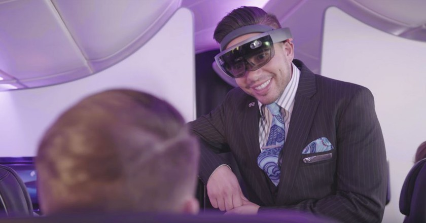 The HoloLens as it would be used by Air New Zealand   Courtesy of Air New Zealand, YouTube