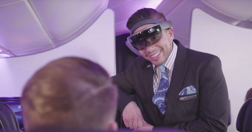 The HoloLens as it would be used by Air New Zealand | Courtesy of Air New Zealand, YouTube