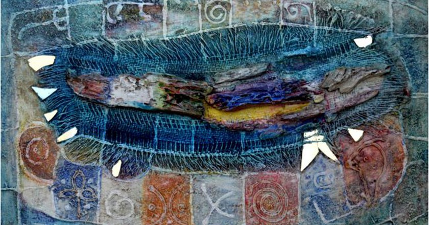 """Sam Ovraiti, """"Mother's old cloth,"""" 25 by 35 inches, mixed media.  Courtesy of Hourglass Gallery"""