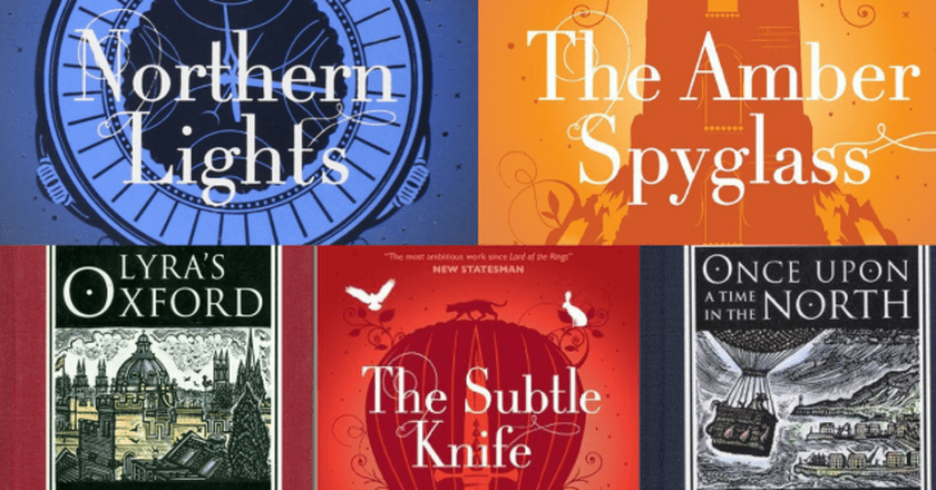 "Covers from the ""His Dark Materials"" trilogy and accompanying short works ""Lyra's Oxford"" and ""Once Upon a Time in the North"" 
