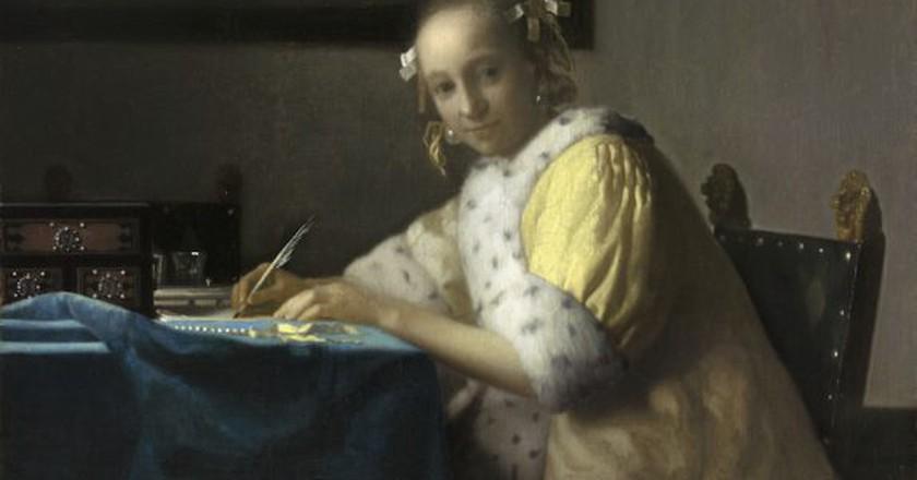 Johannes Vermeer, Lady Writing, c.1665-7 | Courtesy of the National Gallery of Art, Washington.