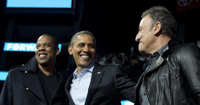 Jay Z, Barack Obama, and Bruce Springsteen © Carolyn Kaster/AP/REX/Shutterstock