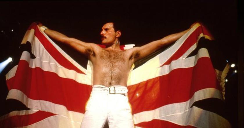 Freddie Mercury of Queen performing in Stockholm, Sweden © Ilpo Musto/REX/Shutterstock