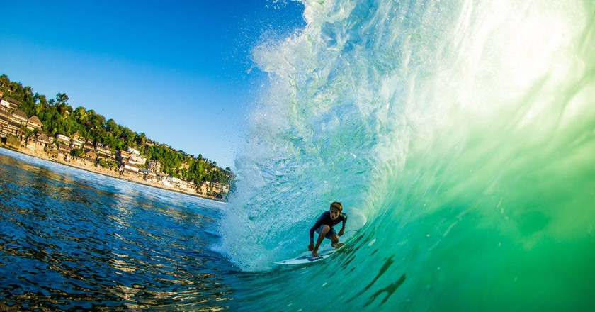 Nolan Rodgers, 15, catches barrel in Bali | © Luke Forgay/Volcom