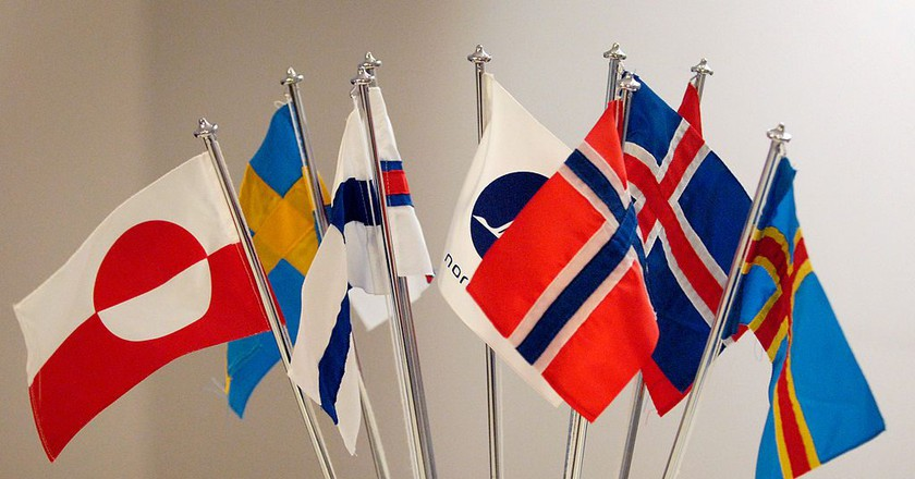 """<a href = """"https://commons.wikimedia.org/wiki/File:De_nordiska_flaggorna.jpeg""""> Flags of the Nordic countries 