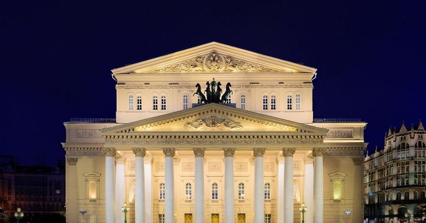 Bolshoi (Big) Theatre front facade view at night  | © DmitriyGuryanov/Wikimedia Commons