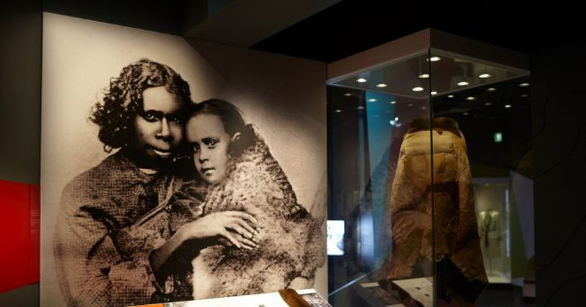 Possum skin cloak displays in 'Our Story' section of First Peoples exhibition at Bunjilaka, Melbourne Museum Dianna Snape Photography | Courtesy of Melbourne Museum