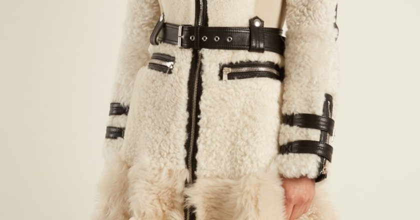 Alexander McQueen High-neck leather-trimmed shearling coat £5,245