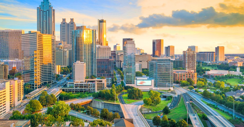 Skyline of Atlanta city at sunset in Georgia, USA   © f11photo/Shutterstock