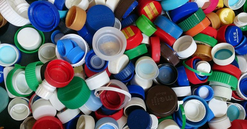 """<a href=""""https://commons.wikimedia.org/wiki/File:Bottle_caps_2.jpg""""> Seychelles plastic ban came into effect on July 1, 2017 
