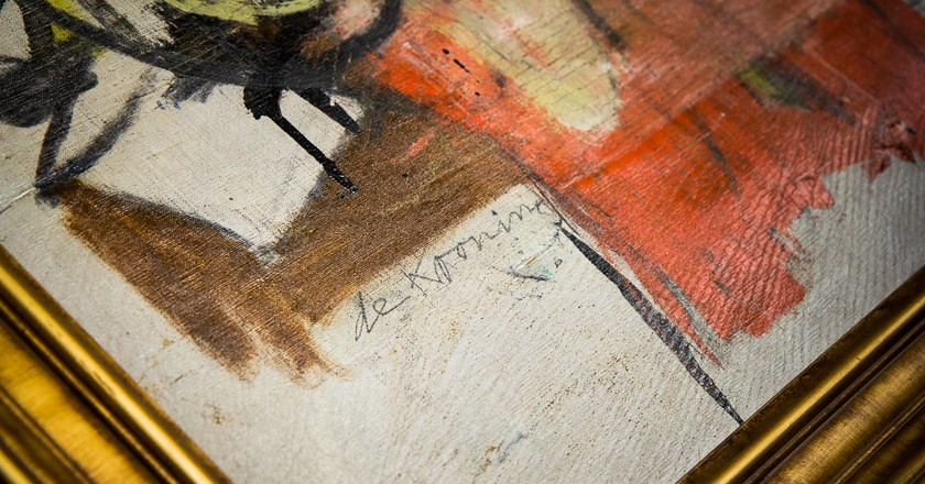 Willem de Kooning's signature on the recovered Woman-Ochre (1954-1955) (detail)   Courtesy of the University of Arizona Museum of Art