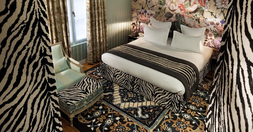 Deluxe Room Zebra at the Hotel du Petit Moulin │ Courtesy of the Hotel du Petit Moulin