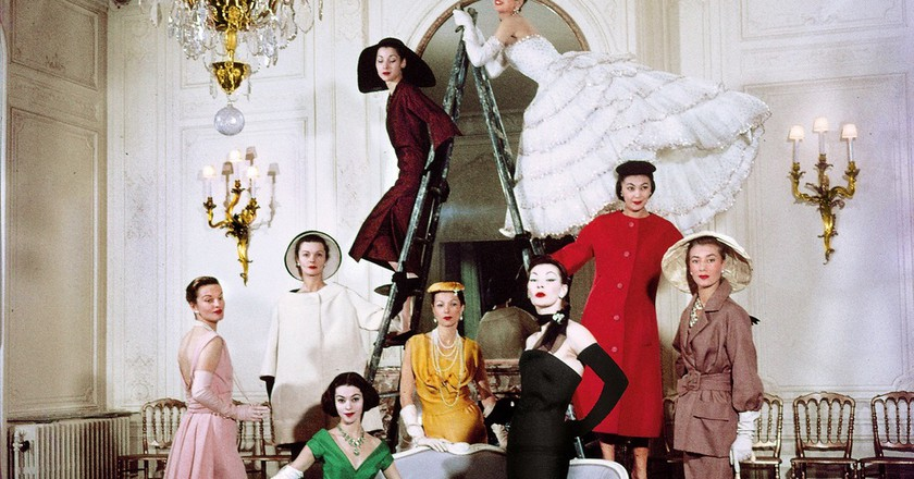 Models posing in new Christian Dior collection.  (Photo by Loomis Dean//Time Life Pictures/Getty Images) | Courtesy of NGV