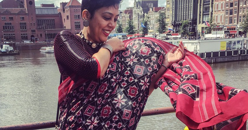 A double ikat sari takes months to weave   © Pooja Jagdeesh