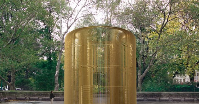 Rendering of one piece in the multi-part Public Art Fund project Ai Weiwei: Good Fences Make Good Neighbors at Doris C. Freedman Plaza, courtesy of Ai Weiwei Studio/ Frahm & Frahm