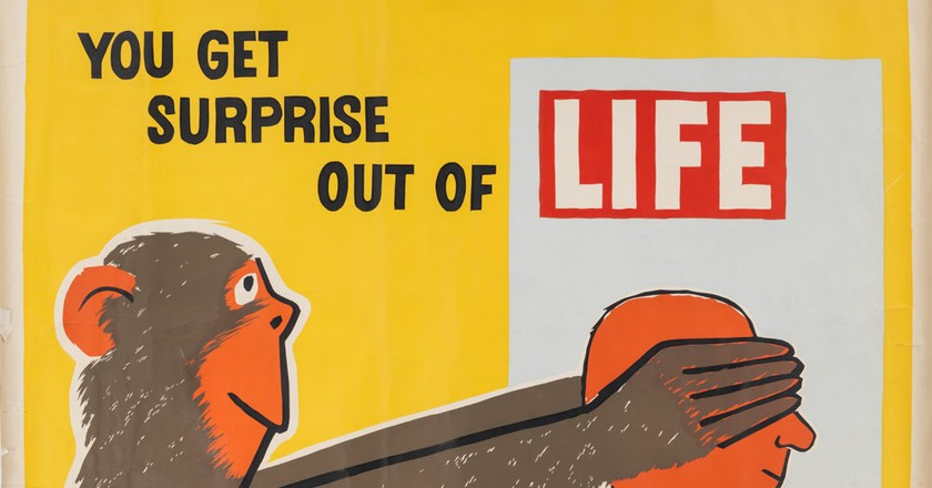 Raymond Savignac, You Get Surprise out of Life (1954), detail   Courtesy of Poster House