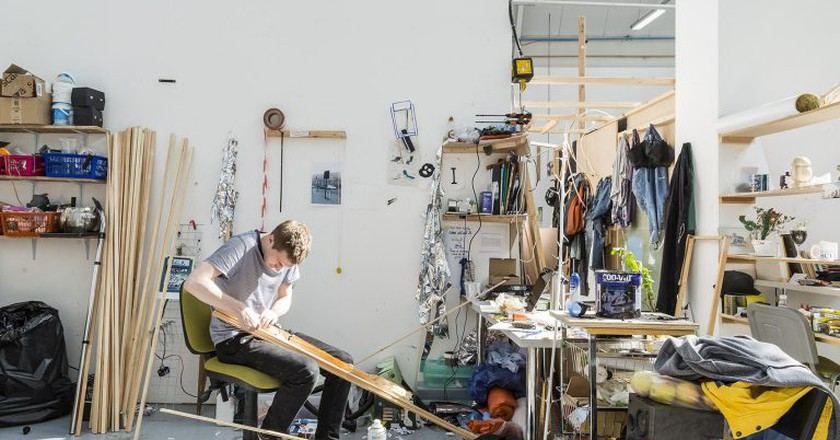 A student in the studio at the Royal College of Art