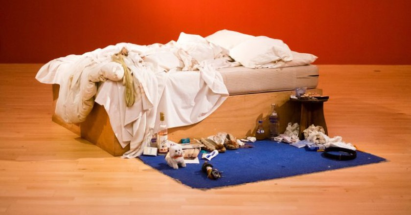 Installation view of Tracey Emin, My Bed, 1998 | courtesy Tate Liverpool. Photo: Pete Carr.
