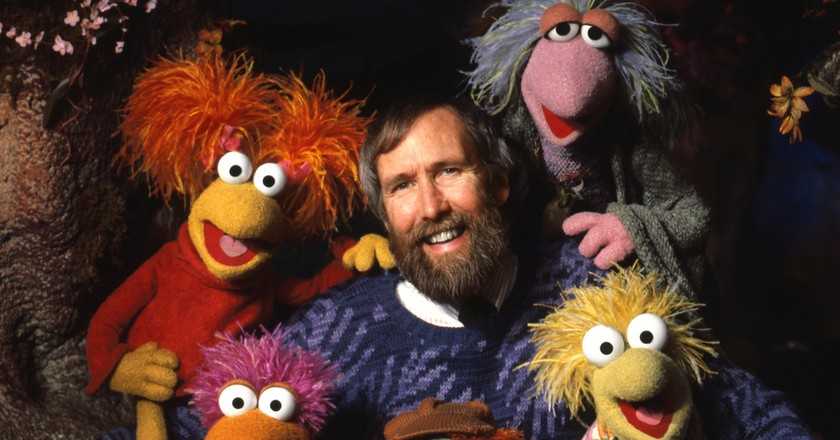 Fraggle Rock posed gallery photo. Jim Henson with the Fraggle Five (Gobo, Red, Mokey, Wembley, Boober).
