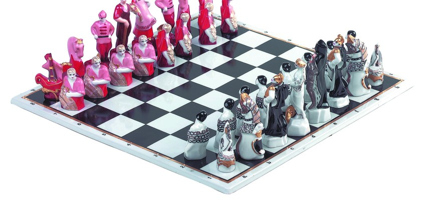 """Red and White"" chess set 