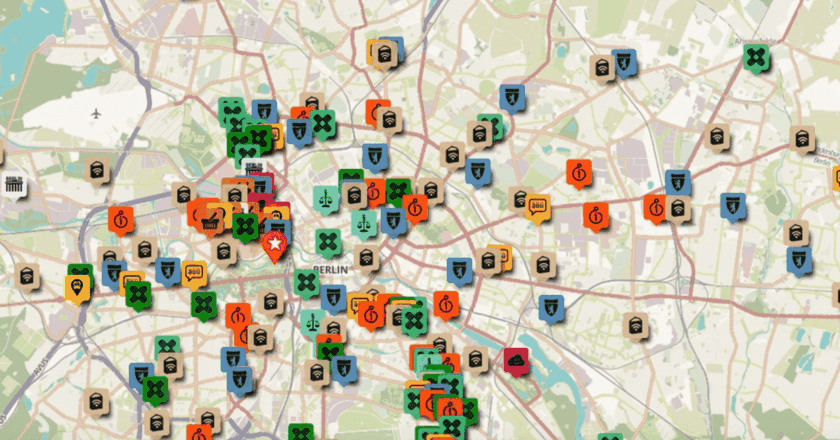 "Screenshot of ""Arriving in Berlin"" a map of resources created by and for refugees arriving to the city."